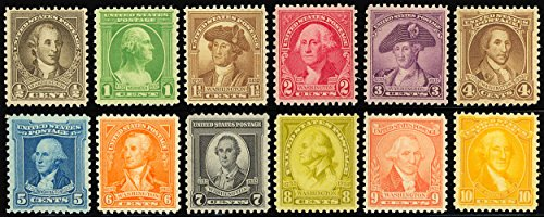 Entire set of twelve 1932 Washington Bicentennial Commemoratives Stamps Scott 704-15 By USPS ()