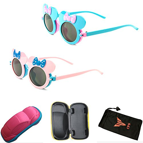 (#K766 2Pair - Pink & Blue) 2 Pairs- Kid Cute Colored Mouse Ears Flip Up Sunglasses Clear Lens Mickey Minnie - Minnie Sunglasses Mouse