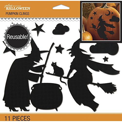 Jolee's Boutique 50-40560 Jolee's Witch Silhouette Pumpkin Clings 11/pkg (Halloween Pumpkin Silhouettes)