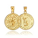 10k Yellow Gold Fireman Protection Shield Medal of St Michael Firefighter Charm Pendant