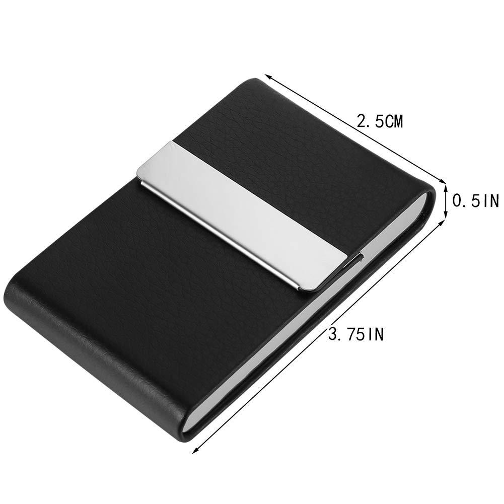 Porta biglietti da visita in pelle sintetica//acciaio inox con magnete sottile Dorisdoll blocco RFID colore: nero capacit/à 20 carte