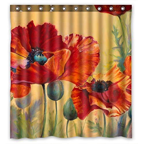 ZHANZZK Red Poppy Passion Waterproof Fabric Shower Curtain 66