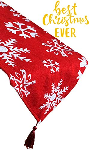 Embroidered Runner - Christmas Table Runner Red Embroidered White Snowflake for Dining Thanksgiving Cotton Tablecloth for Holiday Make Your Table Shine 13x72""