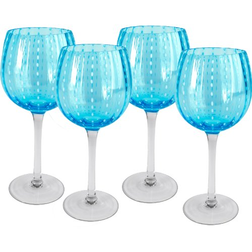 Turquoise Wine - Artland Cambria 18 Ounce Turquoise Goblet Wine Glass, Set of 4
