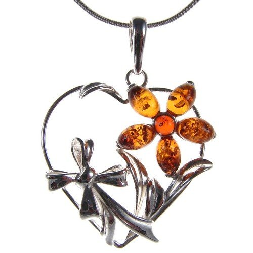 BALTIC AMBER AND STERLING SILVER 925 FLOWER LEAF PENDANT NECKLACE 10 12 14 16 18 20 22 24 26 28 30 32 34 36 38 40 1mm ITALIAN SNAKE CHAIN