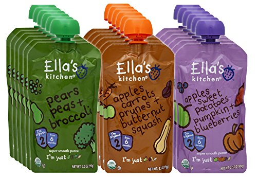 (Ella's Kitchen 6+ Months Organic Baby Food, Fruits and Vegetables Variety Pack, 3.5 oz. Pouch (18 Count))