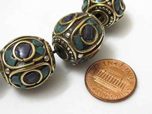 2 BEADS - Large size nepalese brass bead with turquoise lapis inlay - Bd634