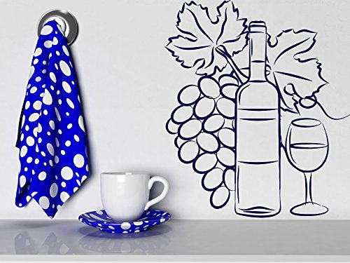 Wall Vinyl Sticker Decor Wine Glass Bottle Cluster of Grapes (n179)(n144 S 11 in by 13.7 in (Harmony Glass Clusters)