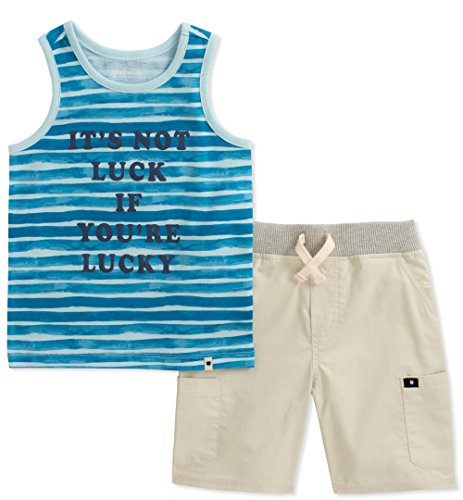 Lucky Brand Boys' Toddler Tank Top Shorts Set, Blue, - Brand Vest Lucky