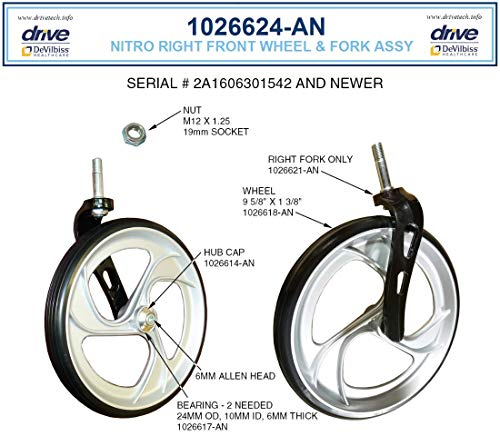 Replacement Parts for Drive Nitro Aluminum Rollator, Tall Height - (8. Front Fork/Wheel Assembly - Right - Serial #'s 2A1606301542 and Higher)