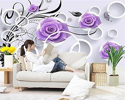 ShAH Custom 3D Wallpaper Mural Floor Sticker Home Decoratione Mural Living Room Bedroom Tv Sofa Background Purple Rose 3D Wallpaper Mural Floor Sticker
