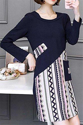 Neck Women's Slim Dresses Vintage Long Jaycargogo Blue Navy Sleeve Fit Floral Crew pnwx0qS