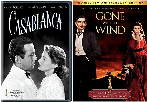 Award Winners Gone with the Wind DVD + Casablanca Classic Screen Series Double Feature