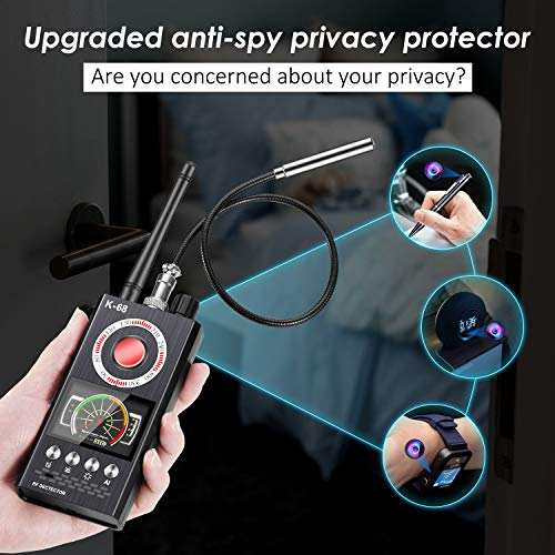 Wattne Anti Spy Detector, Bug Detector, KORKUAN RF Detector, Hidden Camera Detectors, Camera Finder for Wireless Audio Bug Camera Detector Finder, Upgraded Version