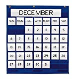 Pacon  Pocket Chart, Monthly Calendar, Blue,  25'' x 28'', 1 Chart