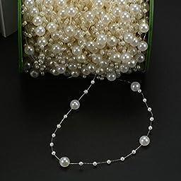 DIY 60 Meters 8mm X 3mm Pearls Bead Chain Wedding Decoration Accessory (Beige)
