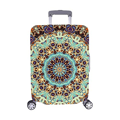 Abstract Square Round Mandala Ornament Spandex Trolley Case Travel Luggage Protector Suitcase Cover 28.5 X 20.5 Inch