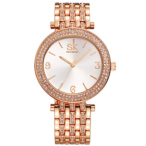 SK Women's Watches Rose Gold Stainless Steel Jewelry Watches Band Round Dial Bracelet(Rose ()