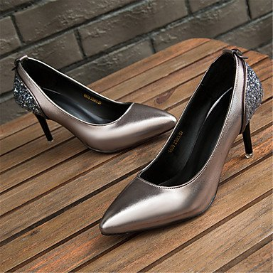 RTRY Tacones Mujer Confort Cuero Verano Otoño Office &Amp; Carrera Parte &Amp; Traje De Noche Sequin Stiletto Talón Plata Negro Zapatos Para Caminar US5.5 / EU36 / UK3.5 / CN35