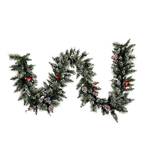 Vickerman Snow-Tipped Pine/Berry Garland-Unlit, 9-Feet, - Frosted Pine Berry