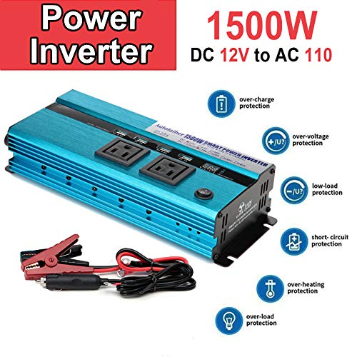 Car Converter Camping Boat 1500W / 3000W (Peak) Modified Wave Power Inverter DC 12V Inverter 12V DC to AC 110V DC 12V with 2 AC Outlets and Car Battery Clip Car Charger
