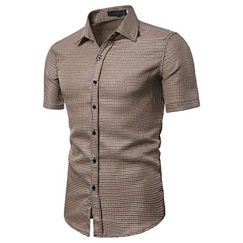 - JJLIKER Men's Regular-Fit Short-Sleeve Plaid Shirt Casual Business Button Down Shirts Classic Formal Tops Coffee