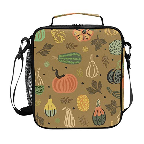 (JSTEL Lunch Bag Fun Vector Thanksgiving Handbag lunchbox Food Container Gourmet Bento Coole Tote Cooler warm Pouch For Travel Picnic School Office)