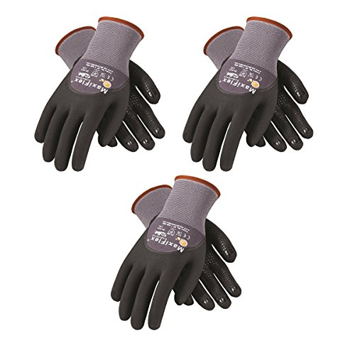 PIP G-TEK Maxi Flex Endurance 34-845 Seamless Knit Coated Gloves Pair, Small/X-Large/Large, 3 Piece