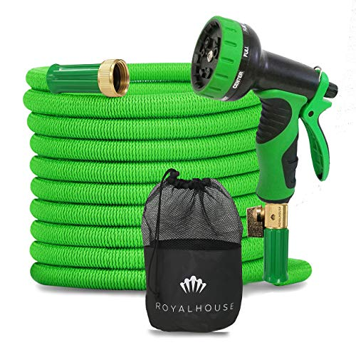 RoyalHouse 100 FT Green Expandable Garden Hose Water Hose with 9-Function High-Pressure Spray Nozzle, Heavy Duty Flexible Hose – 3/4″ Solid Brass Fittings Leak Proof Design