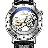 JIANGYUYAN Mens Unique Fashion Classic Casual Business Dress Luxury watches hollow Hardlex Roman number scale Skeleton Luminous Auto-matic mechanical movement 50m waterproof Leather Analog wrist watch