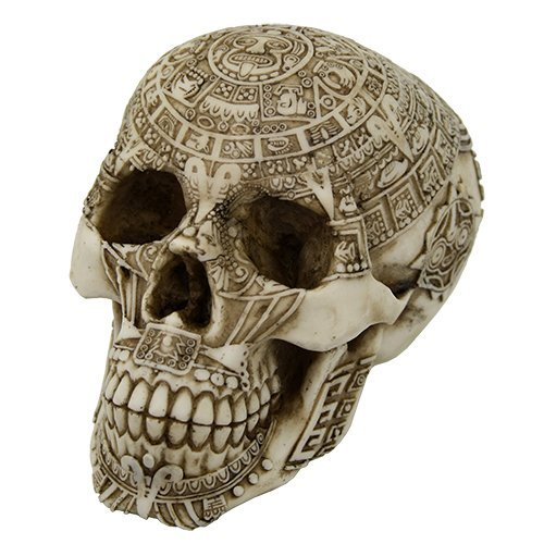 ec Meso America Skull Engraved with Aztec Motif Collectible Desktop Figurine Gift 6 inch ()