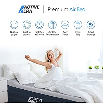 Active Era Premium Queen Size Air Mattress – Elevated Inflatable Air Bed, Electric Built-in Pump, Raised Pillow Structured Air-Coil Technology, Height 20