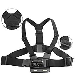 Chest Mount Harness for Gopro Hero 5, Black, Session, Hero 4, Session, Black, Silver, Hero+ LCD, 3+, 3, 2, 1 – Fully Adjustable Chest Strap - Also Includes J-Hook / Thumbscrew / Storage Bag
