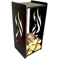 * * Flamme Cheminée étagère en bois 35x 35x 80cm Bois de cheminée Support Étagère en bois Panier Neuf L