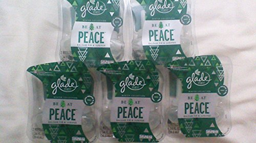 10 Glade BE AT PEACE BALSAM FIR & JUNIPER Refill PlugIns Scented Oil Spruce 5pak by Glade