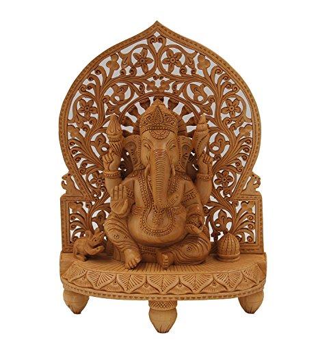 Hand Carved Sculpture - DharmaObjects Large Ganesha Hand Carved Wooden Statue - Ganesh Wooden Sculpture Elephant God Hindu Deity (12