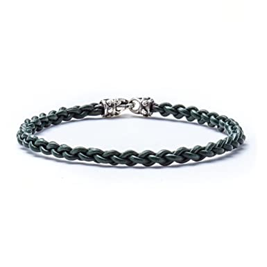 adb9a5f993211d Image Unavailable. Image not available for. Color: Scott Kay Men's Leather  Bracelet with Sterling Silver ...