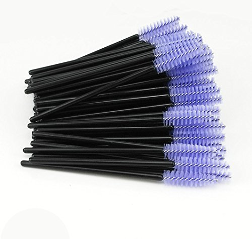 Yueton Pack of 100 Disposable Eyelash Brushes Wands Mascara Applicator (Black+Light Purple) (Purple Pack)