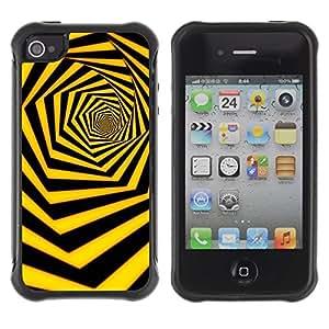 LASTONE PHONE CASE / Suave Silicona Caso Carcasa de Caucho Funda para Apple Iphone 4 / 4S / Black Yellow Hexahedron Swirl