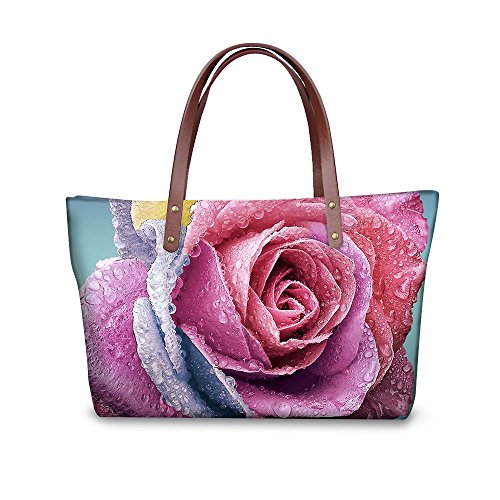 Pima Cotton Bag - FOR U DESIGNS Fashion Vintage Rose Floral Print Best Gift Bag for Women Casual Handbag Tote Bags