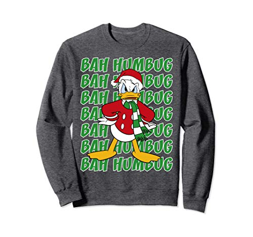 Disney Donald Duck Bah Humbug Christmas Text Stack Sweatshirt (Christmas Jumpers Humbug)