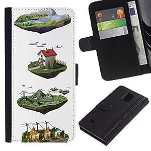 iBinBang / Flip Funda de Cuero Case Cover - Dibujos animados Diseño Blanca - Samsung Galaxy Note 4 SM-N910