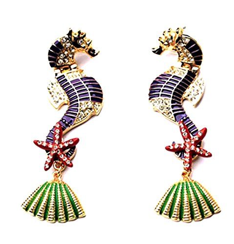 Seashell Post (Extra Large Fabuolus Statement Seahorse Sea Horse Earrings Stud Starfish Sea Shell Accent)