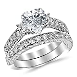 1.53 CTW Three Stone Vintage With Milgrain & Filigree Bridal Set with Wedding Band & Diamond Engagement Ring w/ 0.5 Ct Heart Cut I Color VS2 Clarity Center
