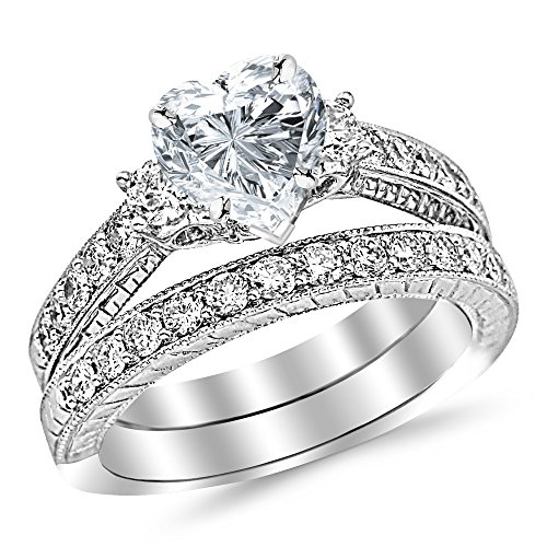 Diamond Vintage Rings Wedding (14K White Gold 1.53 CTW Three Stone Vintage With Milgrain & Filigree Bridal Set with Wedding Band & Diamond Engagement Ring w/ 0.5 Ct Heart Cut I Color VS2 Clarity Center)