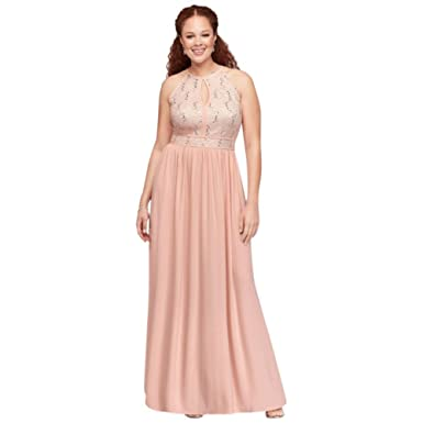 32cb6ac9199 Lace Tie Back Keyhole Halter Plus Size Dress Style 12490W at Amazon Women's  Clothing store: