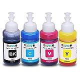 INKUTEN Set of 4 Refill Eco tank Ink Kit 70ml for T6641 T6642 T6643 T6644 and Expression Ecotank ET-2500 ET-2550 ET-4500 ET-4550 L100 L110 L120 L200 L210 L300 L350 L355 L550 L555 Printers