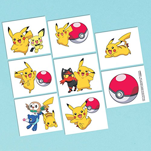 Amscan Pokemon Tattoos, Party Favor One Size, -