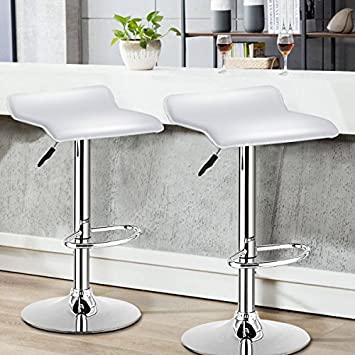COSTWAY Swivel Bar Stools Adjustable Contemporary Modern Design Chrome Hydraulic PU Leather Backless Dining Chairs Set of 2 White