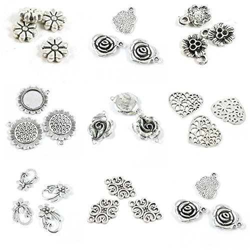 (29 Pieces Jewelry Making Charms Rose Flower Connector Tag Heart Sunflower Cabochon Frame Setting)